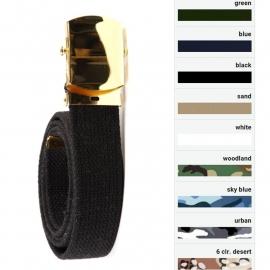 Web Belt with Golden Buckle - Nine Colours