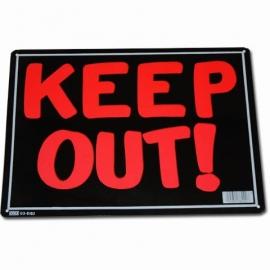 Light Metal Plate / Tin Sign - Keep Out!
