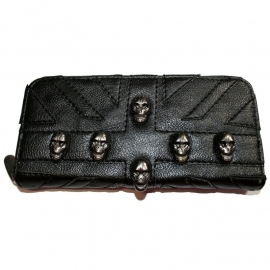 Wallet with Zipper - Black Union Jack with Skulls