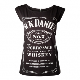 Jack Daniel's - T-Shirt -  Original Classic Big Logo Top - with ZIPPER back