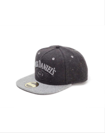 Jack Daniel's - DARK  GREY Washed Snapback Cap - Adjustable  - Dusty Look - Silver Lettres - Tweed Look
