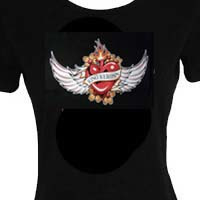 King Kerosin - T-Shirt - Flamed Heart with Wings - LARGE