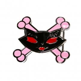 Evil Kitty with Crossed Pink Bones BUCKLE [B163]