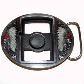 Zippo Holder BUCKLE - Indian Faces
