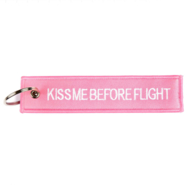 Embroided Keychain - Pink - KISS ME BEFORE FLIGHT