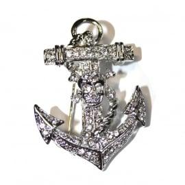 Anchor and Skull Brooch