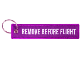 Embroided Keychain - Lila & White - REMOVE BEFORE FLIGHT