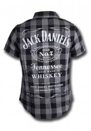 Jack Daniel's - Shirt - Black & Grey Checkered - Original Big Classic Logo on the Back
