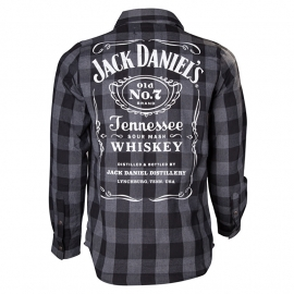 Jack Daniel's - Worker Shirt - Black & Grey  Checkered - Long Sleeves - Original Big Classic Logo on the Back