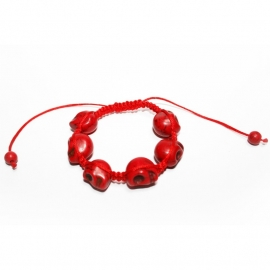 Red bracelet with Skullies