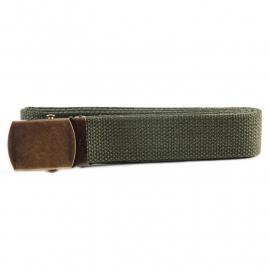 Web Belt with Brass Buckle - Green