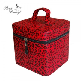 Rock Daddy - Vanity / Beauty Case with Mirror - Red Leopard