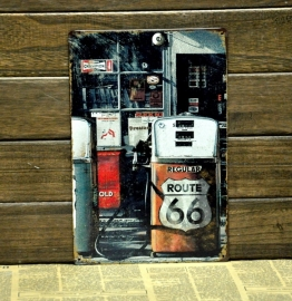 Metal Plate / Tin Sign - Rusty / Vintage Look - Route 66 - Gas Station