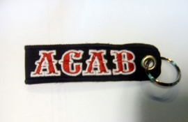 Embroided Keychain - Red & White - ACAB