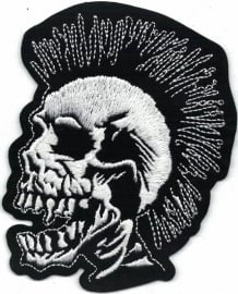 021 - silver PATCH - Screaming Skull met Mohawk - White