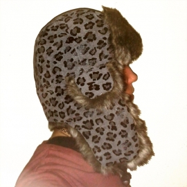 grey Leopard Trapper Hat