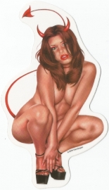 Nude Satanic Pin Up  - DECAL - STICKER