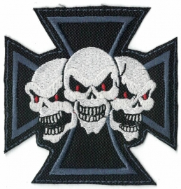 115 - PATCH - BLUE Maltese Cross with 3 Red Eyed Skulls