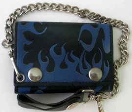 Mustang - Biker Wallet with Chain - Blue Flames