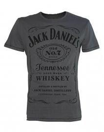 Jack Daniel's - T-Shirt - Grey -  Original Big Classic Logo
