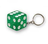 TrikTopz - Keychain - Green Dice with Glitters