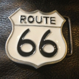 White Route 66 BUCKLE [B122]
