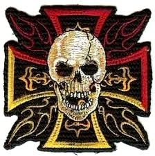 115 - PATCH - Iron / Maltese Cross with Skull & Flames