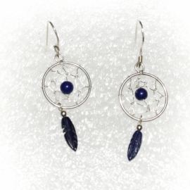 Dreamcatchers (blue) earrings [SILVER]