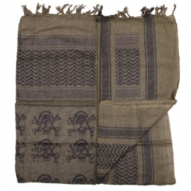 PLO Scarf - Arafat Shawl with SKULLS - Army Green