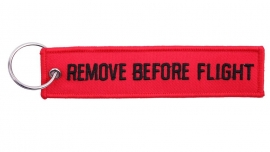 Embroided Keychain - Red & Black - REMOVE BEFORE FLIGHT