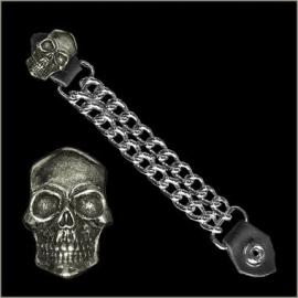 Vest Extender - Double Chain - Smiling Skull