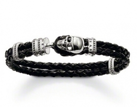 Skull Bracelet with Black Leather & Silver