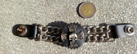 Vest Extender - Double Chain - Celtic Cross with Half Skull