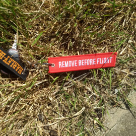 Embroided Keychain - Red & White - REMOVE BEFORE FLIGHT