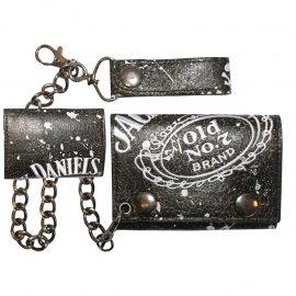 Jack Daniel's - Trifold Wallet with Chain with leather Loop - Black/Brown PU leather