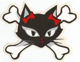 Evil Kitty with Bows and Crossed Bones - DECAL - STICKER