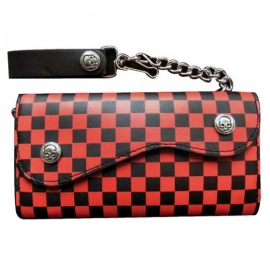 Rock Daddy - Wallet with Skull Buttons and Chain - Black/Red Checkerend Design