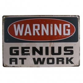 Metal Plate / Tin Sign - Rusty / Vintage Look - WARNING Genius At Work