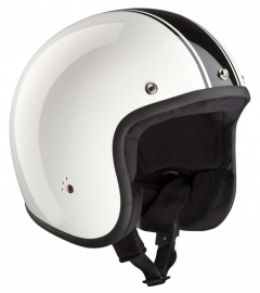 BANDIT - Jet Open Face Helmet - Classic Design [Shiny White with Shiny Black Stripes]