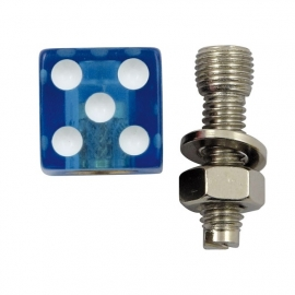 TrikTopz with License Plate Mounts - Valve Caps - Clear Blue Dice