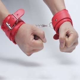 HandCuffs - Faux Fur & Leather - Wrist / Ankle Cuffs - RED