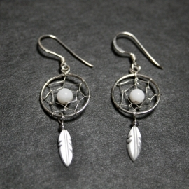 Dreamcatchers (pearl) earrings [SILVER]
