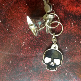 Metal Keychain - Black Skull with White Eyes