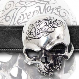 Alchemy England - BELT BUCKLE - Edgar Allan Poe - The Raven - 'NEVERMORE' - Skull