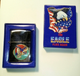 THE EAGLE FLIES AGAIN - Lighter - Keep The Eagle Flying - Round - Rebel Flag & Flyin' Eagle