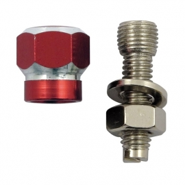 TrikTopz with License Plate Mounts - Valve Caps - Red Alloy Twotone Hex