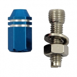 TrikTopz with License Plate Mounts - Valve Caps - Blue Alloy Twotone Hex Straight