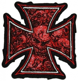 128 - LARGE PATCH - Iron / Maltese Cross with Red Skulls