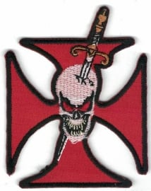 015 - PATCH - Skull with Dagger trough his Head and Maltese Cross