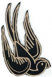 323 - PATCH - Black & Gold - Swallow (right)